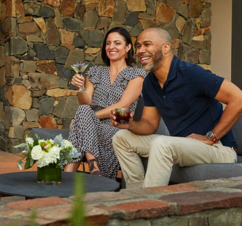 couple drinking on a patio