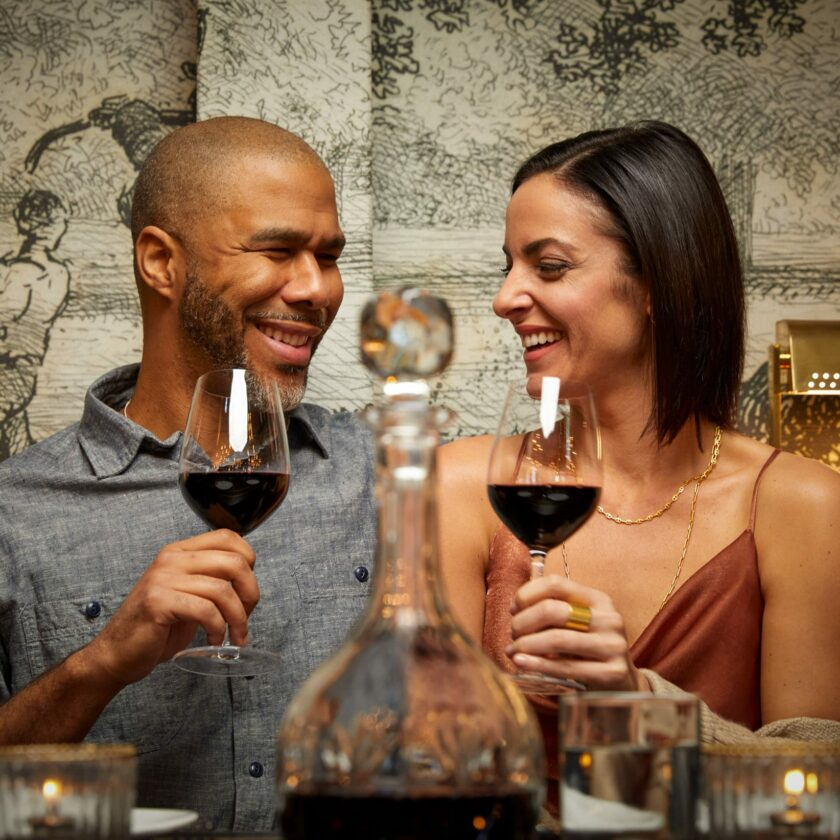 couple drinking wine at a restaurant
