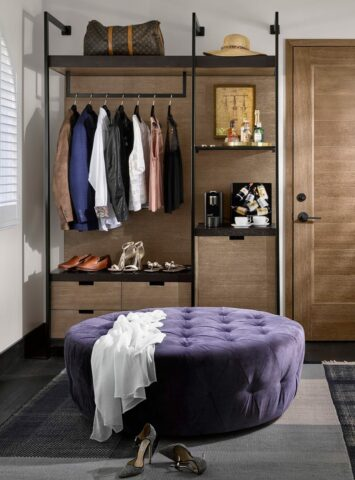 clothing rack in the deluxe king bedroom