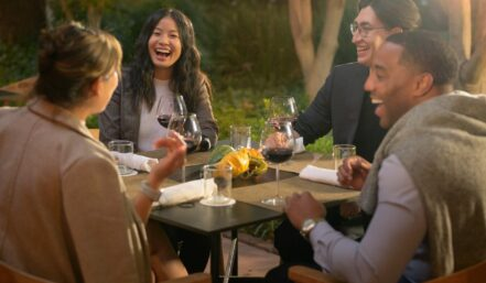 4 guests dining at perry langs restaurant