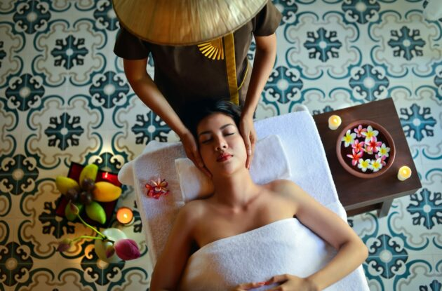 guest getting a massage at the spa