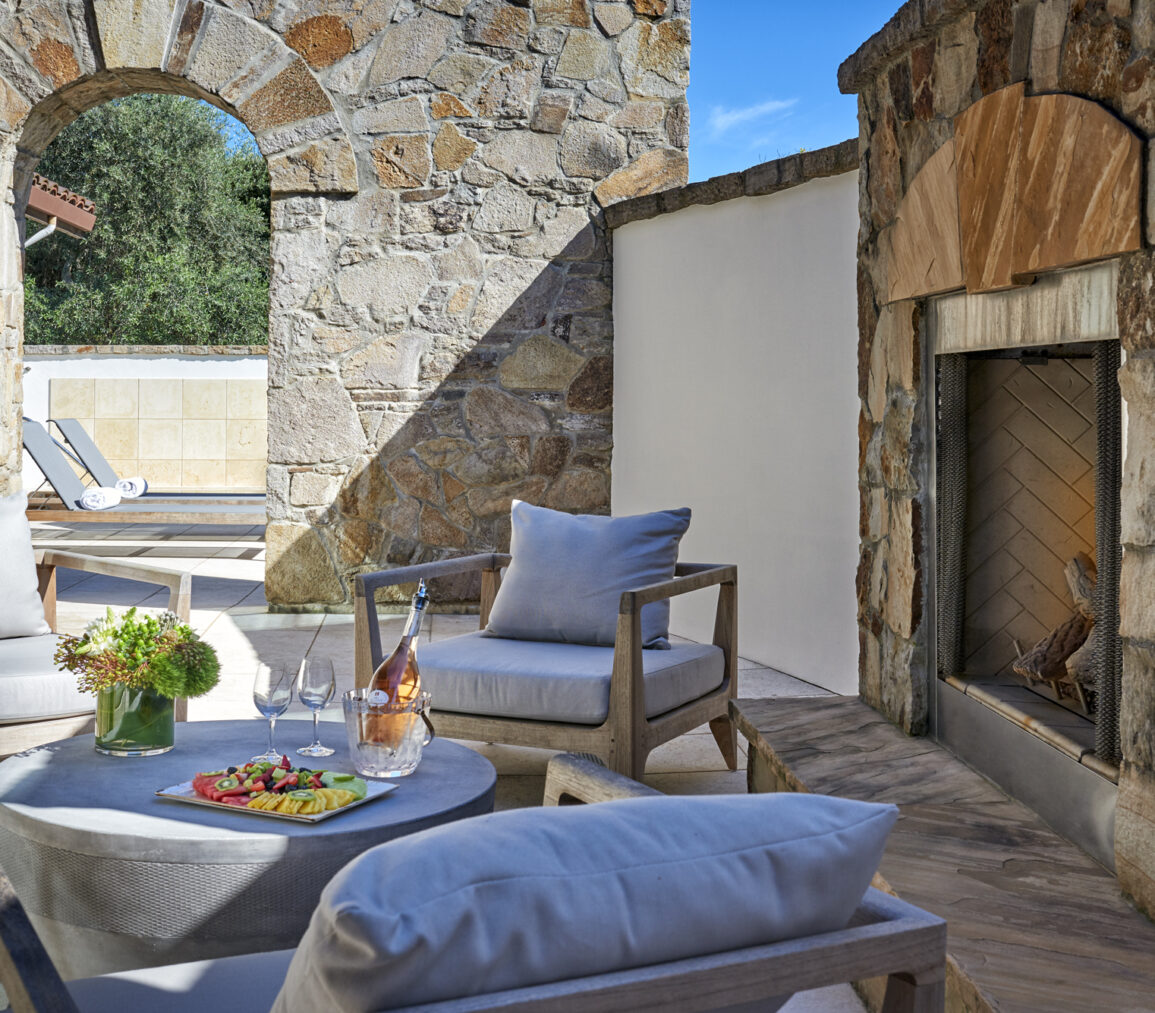 the spa outdoor fireplace with food