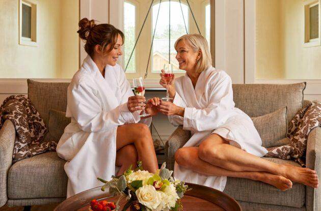 two women at spa drinking