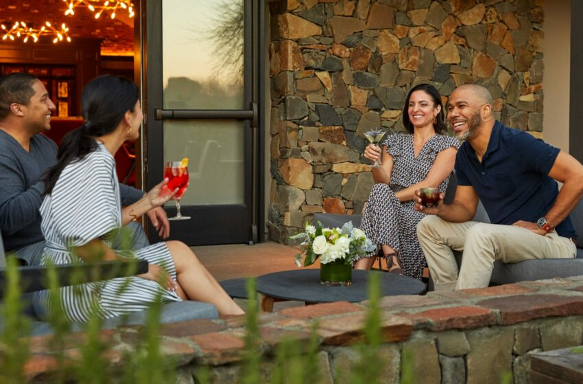 couples drinking on a patio